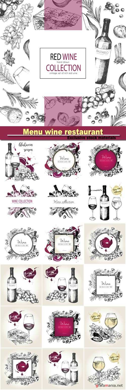 Menu wine restaurant, grape, cheeze, rosemary, spices, botte and wineglass, vector hand drawn illustration