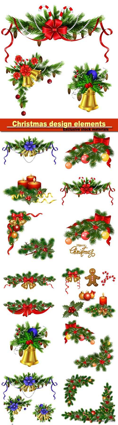 Christmas design elements, background with fir tree, holly and decorative elements