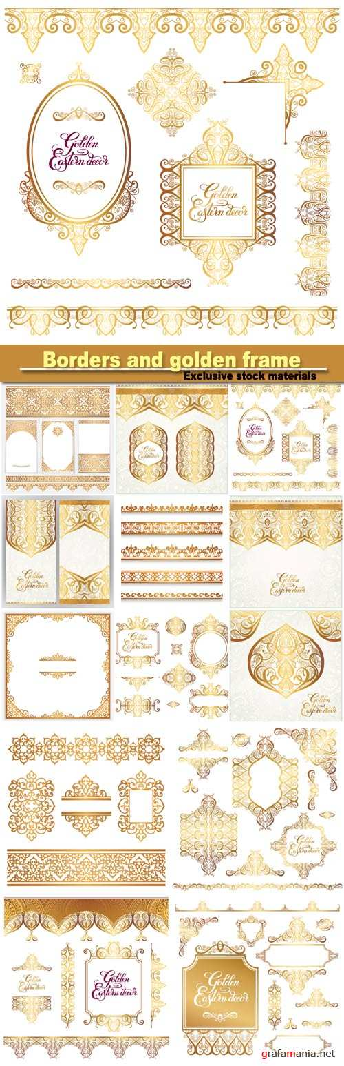 Floral vintage gold borders and golden eastern decor frame elements, paisley pattern