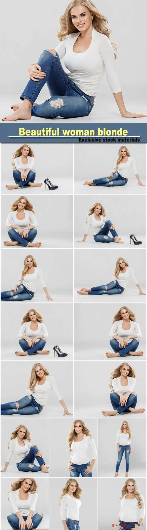Beautiful woman blonde curly hair sexy portrait jeans fashion