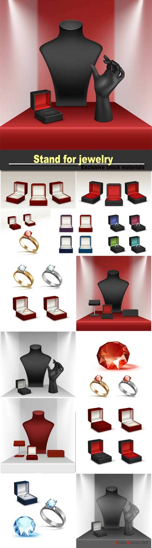 Stand for jewelry with jewellery box close up Isolated in showcase, set of engagement rings, shiny clear diamonds