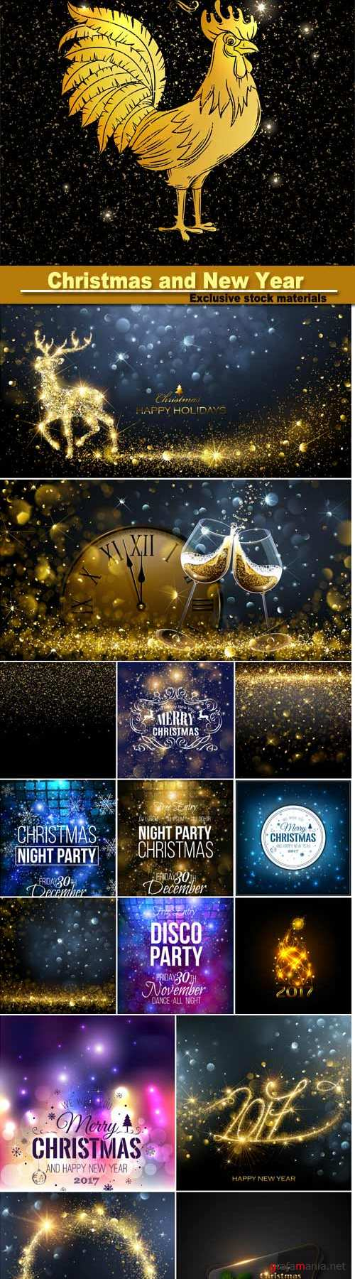 Christmas and New Year background with snowflakes, light, stars, vector illustration