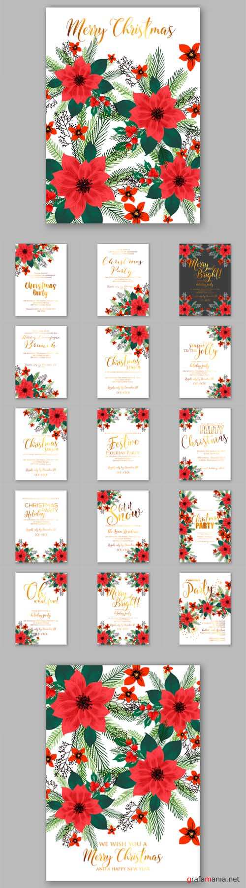 Vector Merry Christmas Party Invitations with Winter Wreath
