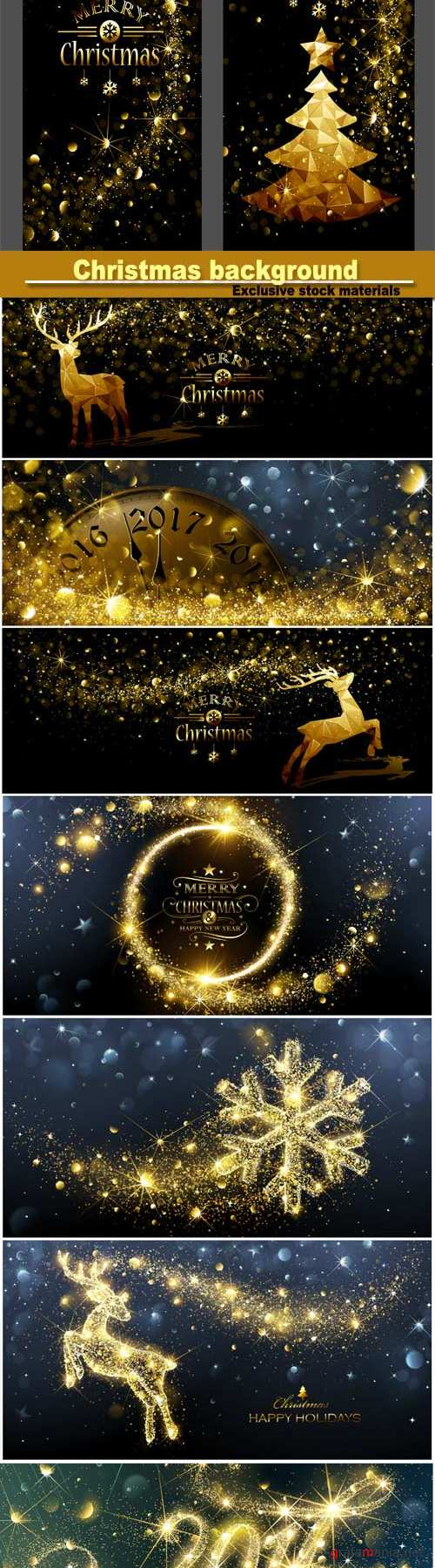Beautiful Christmas background with glowing elements, deer, tree
