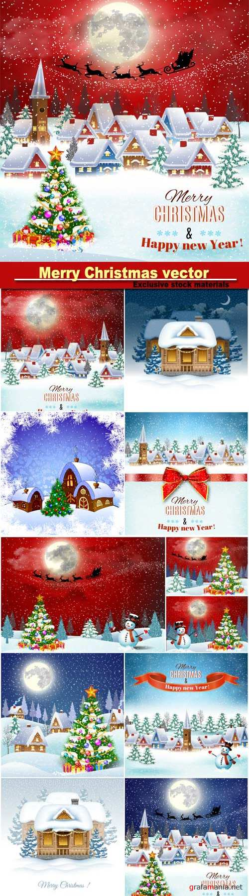 Christmas backgrounds in vector winter landscape with village houses and snowmen