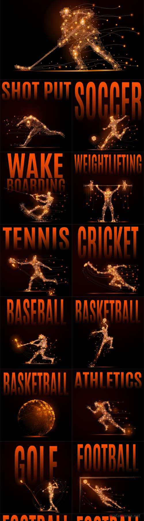 Vector Abstract Sport Silhouettes of Glowing Lines and Points