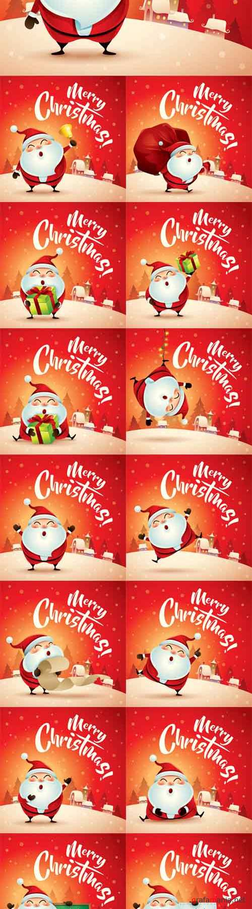 Vector Merry Christmas! Santa Claus in Christmas Snow Scenes