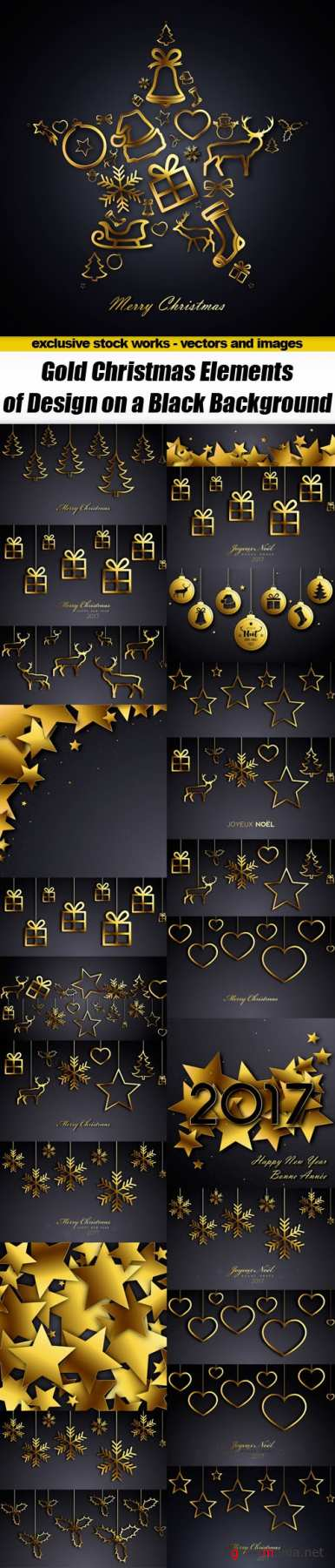 Gold Christmas Elements of Design on a Black Background - Vector Stock, 25xEPS