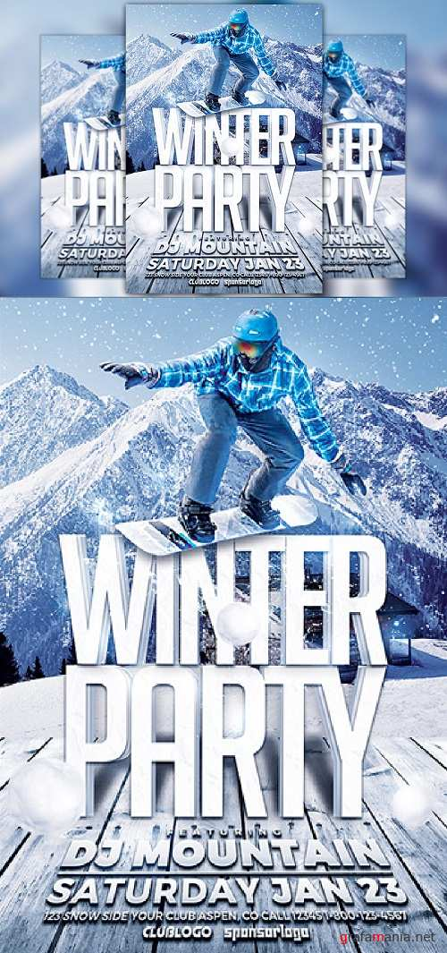 Winter Party Flyer Template - 977666