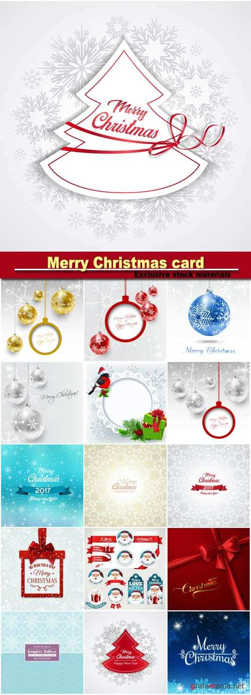 Merry Christmas card, vector set of vintage Christmas labels, badges and banners