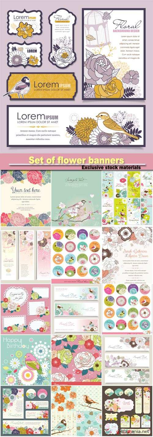 Set of flower banners, invitation card with flower