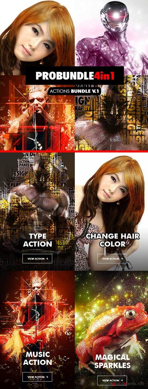 Pro Bundle - 4in1 Photoshop Actions Bundle V.1 - 18503121