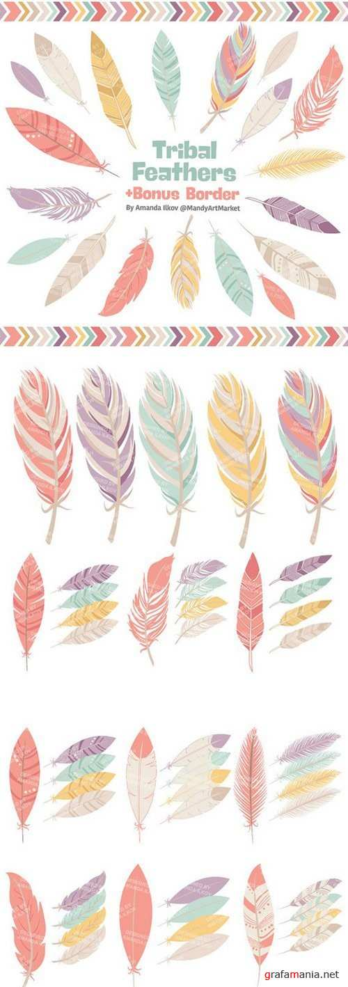 Be Brave Tribal Feathers Clipart & Vectors