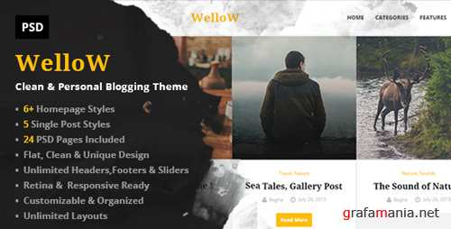 Wellow – Clean & Personal Blogging PSD Template 11948706