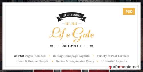 Lifegate – Vintage Personal Blog PSD Template 12958264