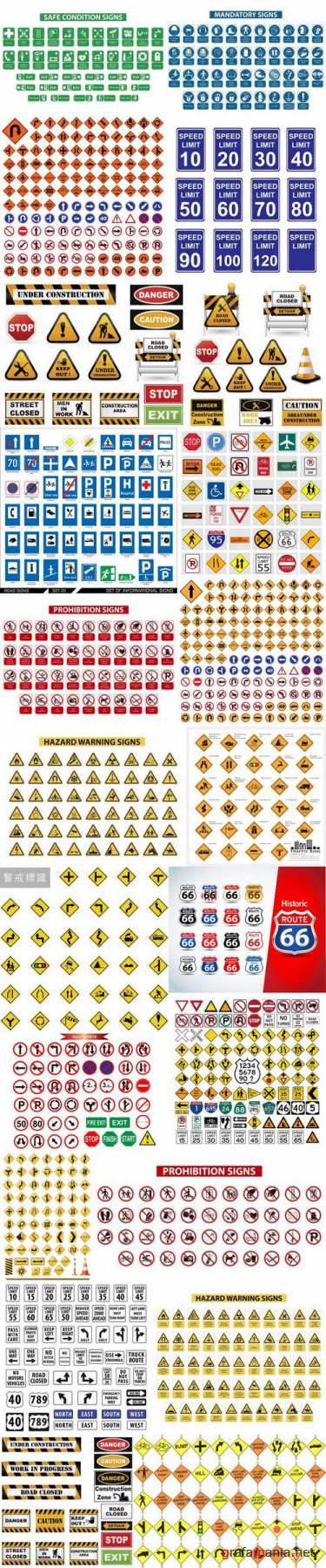 Road signs & under construction - 23xEPS