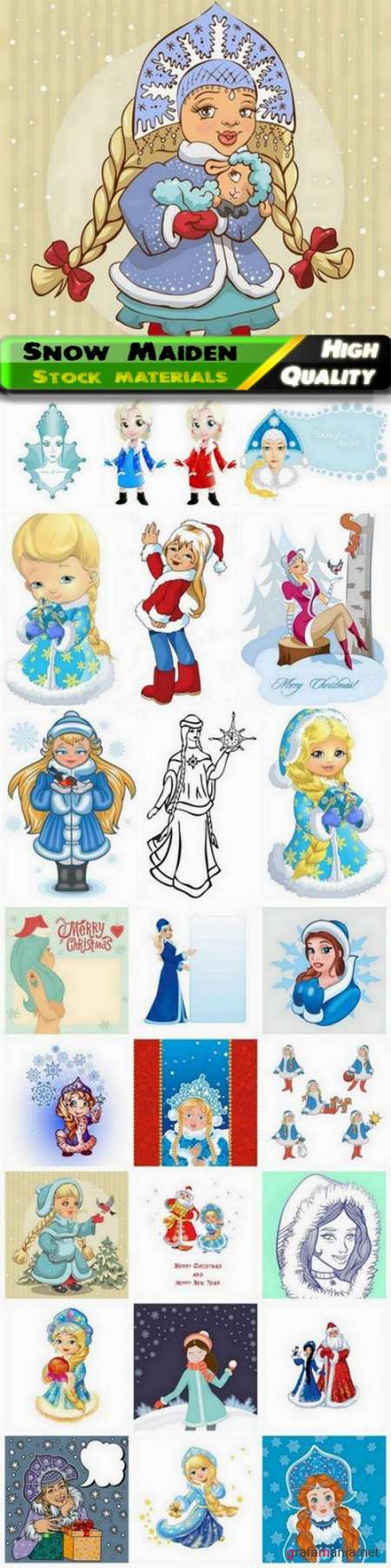 Snow Maiden and Santa Claus for Merry Christmas card - 25 Eps