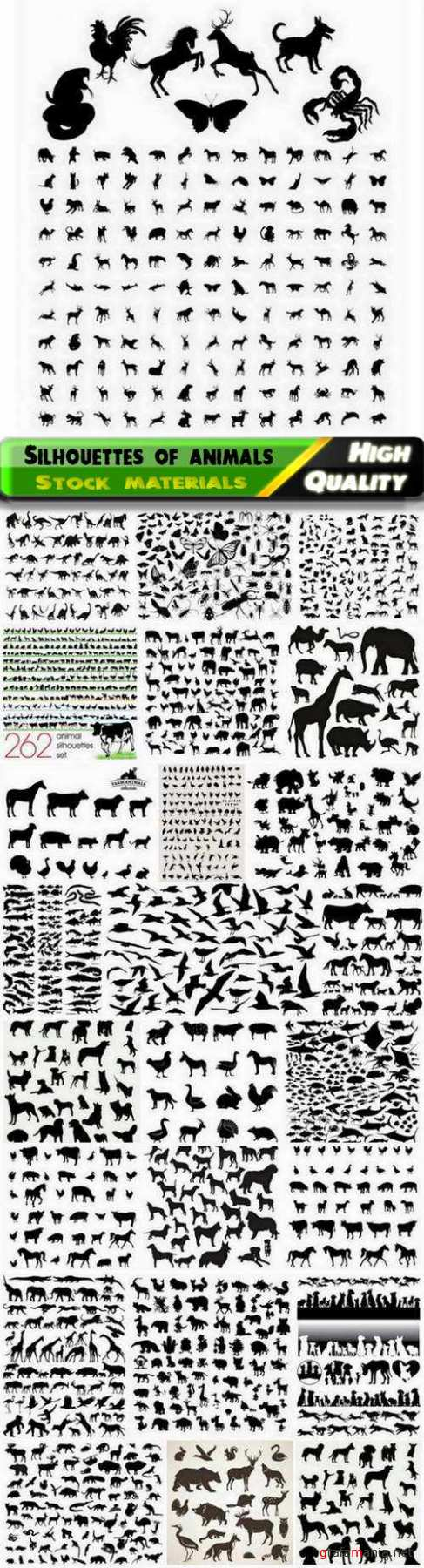 Silhouettes of wild and domestic animals pets and insects - 25 Eps