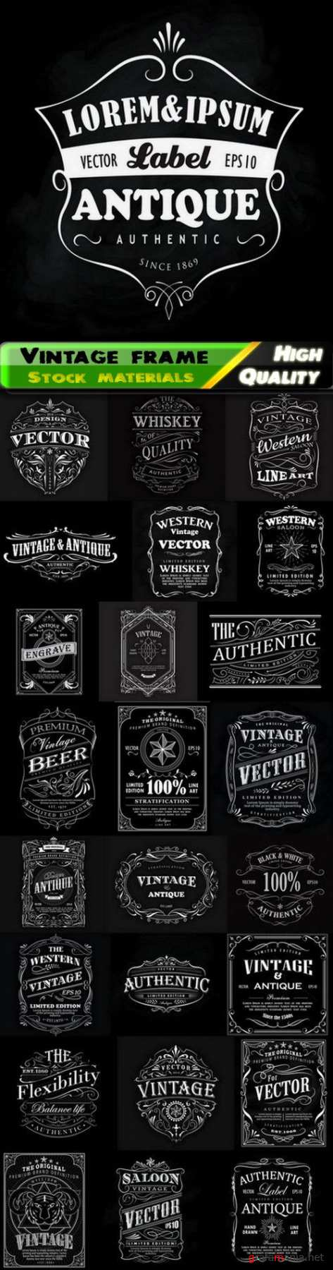 Vintage frame and calligraphic label and retro t-shirt design - 25 Eps