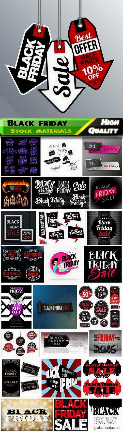 Banner tags and label for black friday sale and discount 2 - 25 Eps