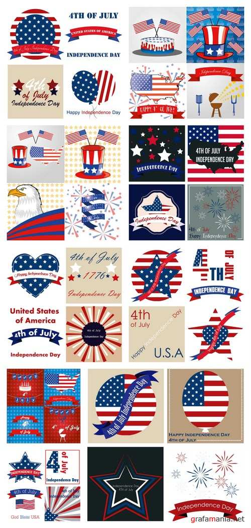 U.S.A. Holidays and Elements of Design - 9xEPS