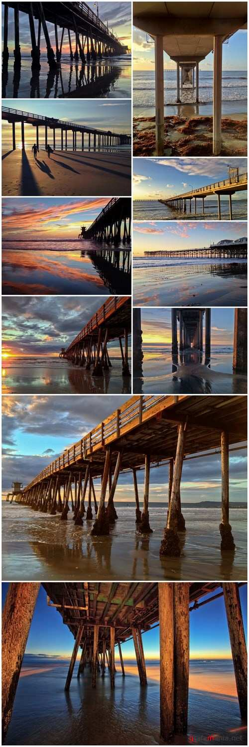 Imperial Beach Pier at Sunset Southern California United State - 10xUHQ JPEG Photo Stock