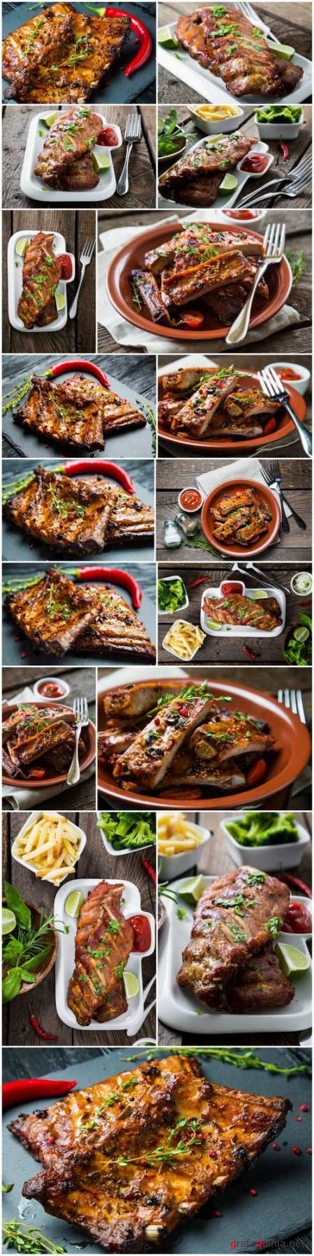 Appetizing grilled ribs - 17xUHQ JPEG Photo Stock