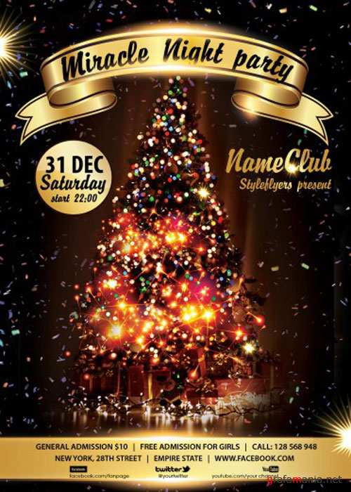 Miracle Night Party PSD V1 Flyer Template with Facebook Cover