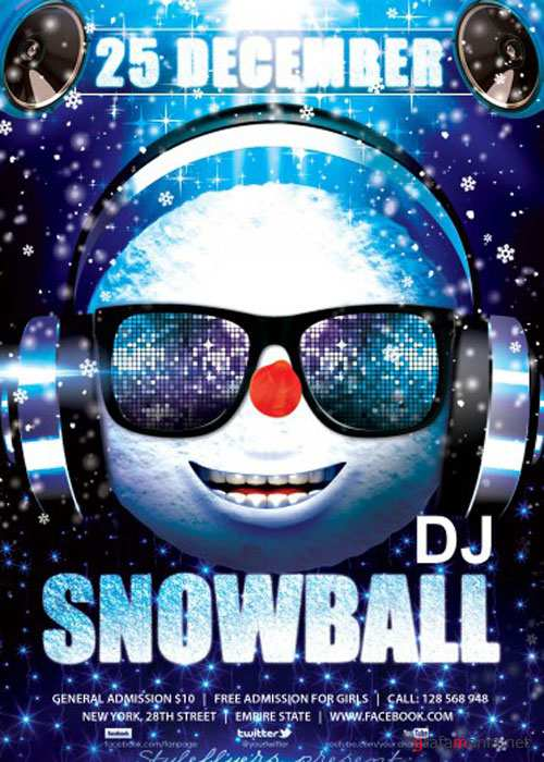 DJ Snowball PSD V5 Flyer Template with Facebook Cover