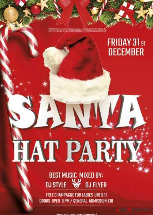 Santa hat PSD V3 Flyer Template with Facebook Cover