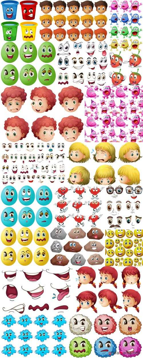 Cartoon Expressions & Emotions 3 - 20xEPS Vector Stock