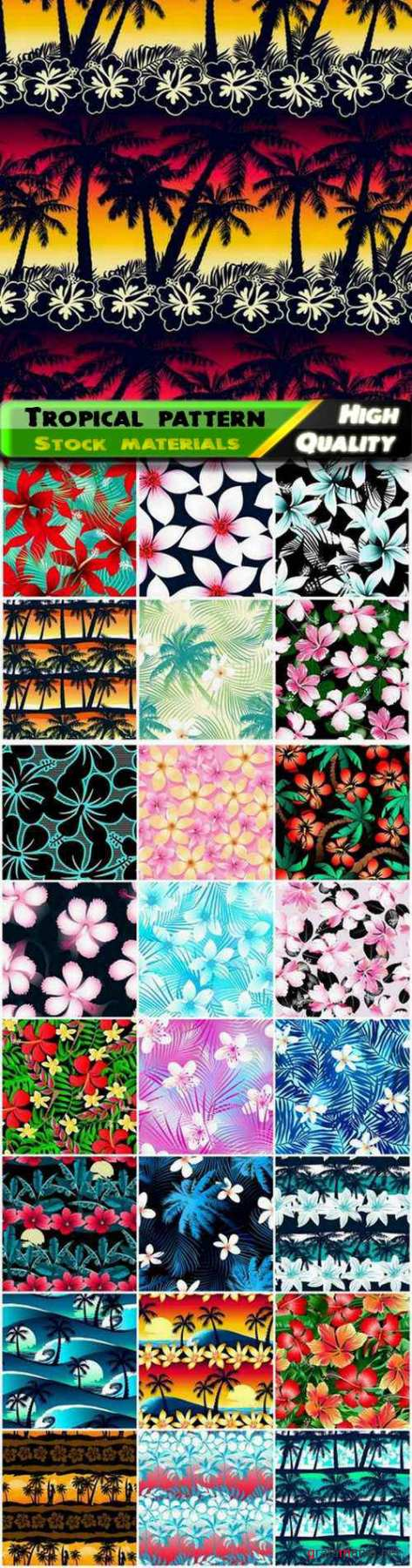 Tropical seamless pattern with palm tree flower beach wave - 25 Eps