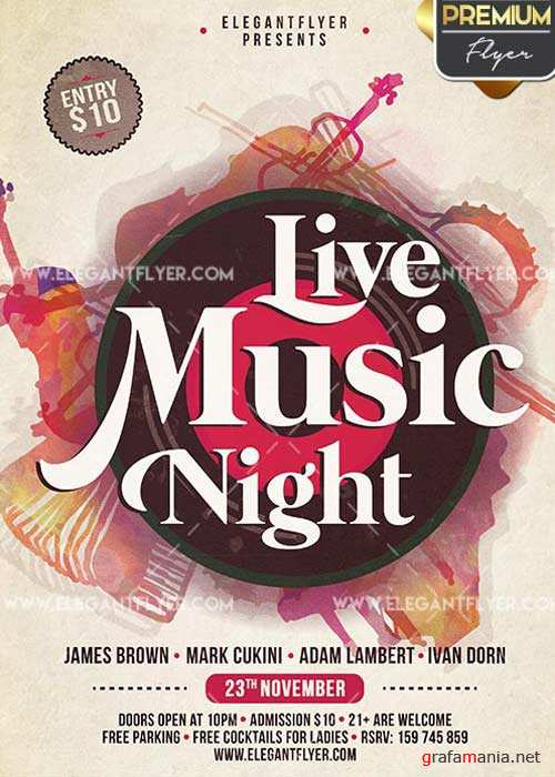 Live Music Night Flyer PSD V5 Template + Facebook Cover