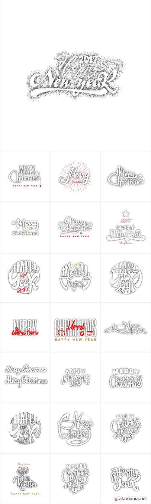 Vector Merry Christmas and Happy New Year 2017, Hand Drawn Dotwork