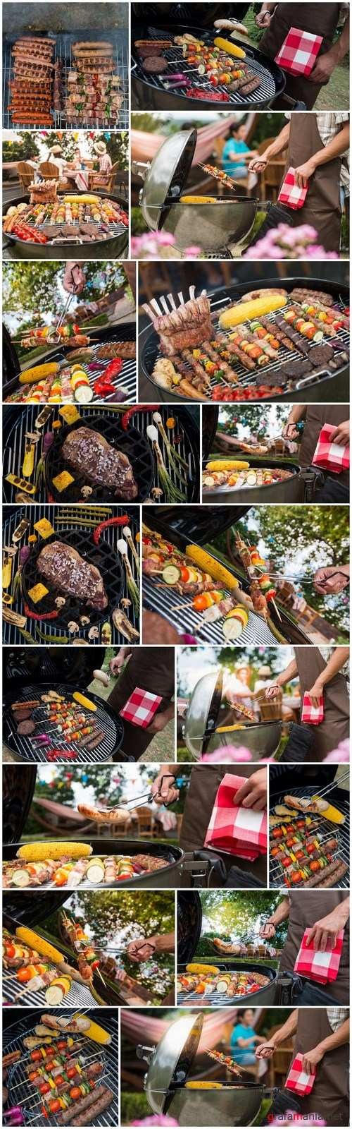 Assorted delicious grilled meat with vegetable on a barbecue - 18xUHQ JPEG Photo Stock