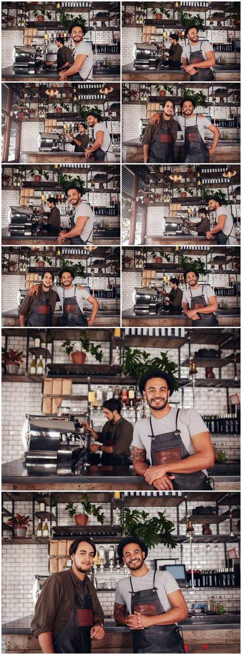 Cafe owner standing at the counter - 10xUHQ JPEG Photo Stock