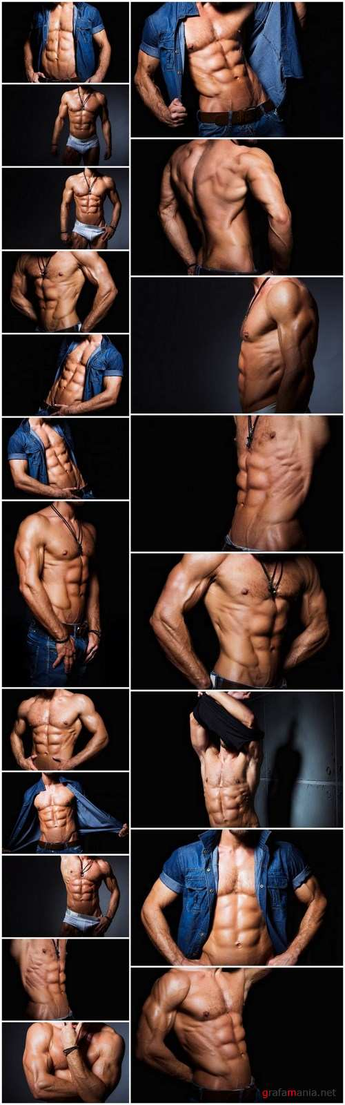 Muscular and sexy torso of young man having perfect abs - 20xUHQ JPEG Photo Stock