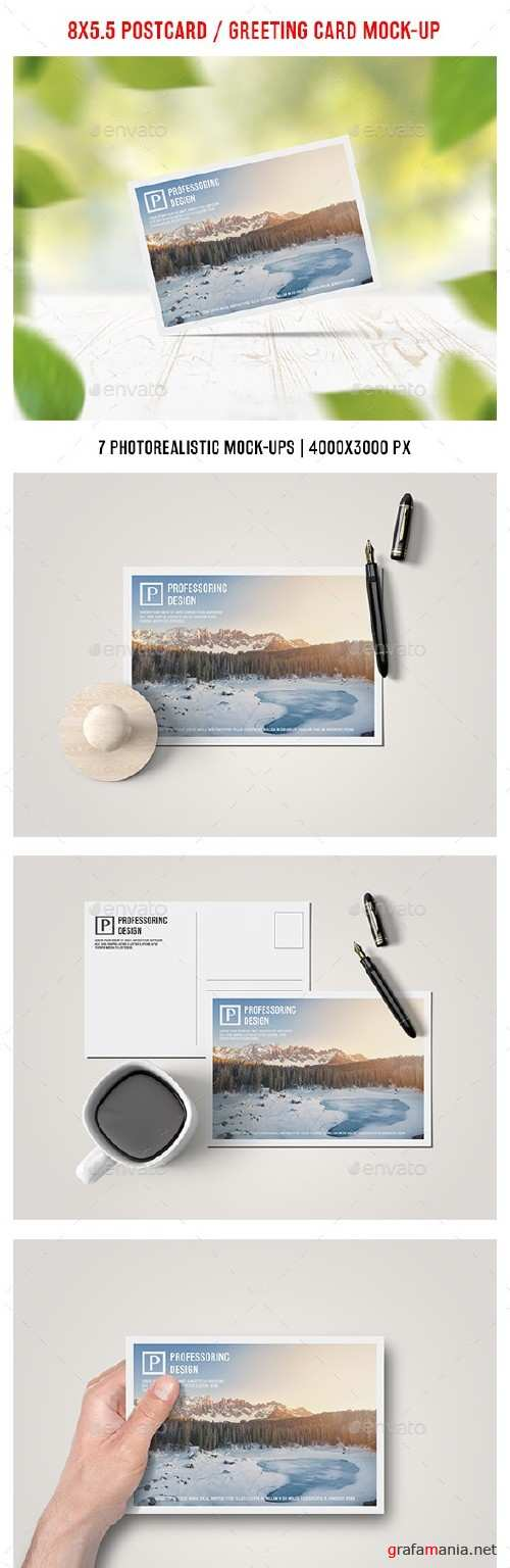8x5.5 Postcard / Greeting Card Mock-Up - 17928891