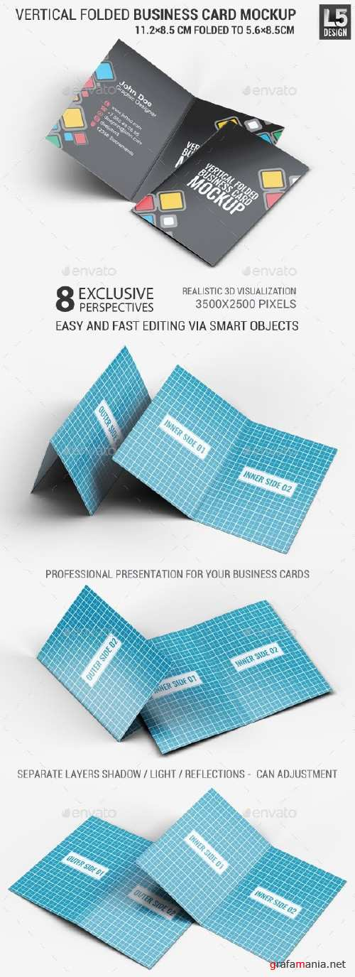 Vertical Folded Business Card Mock-Up - 12477513