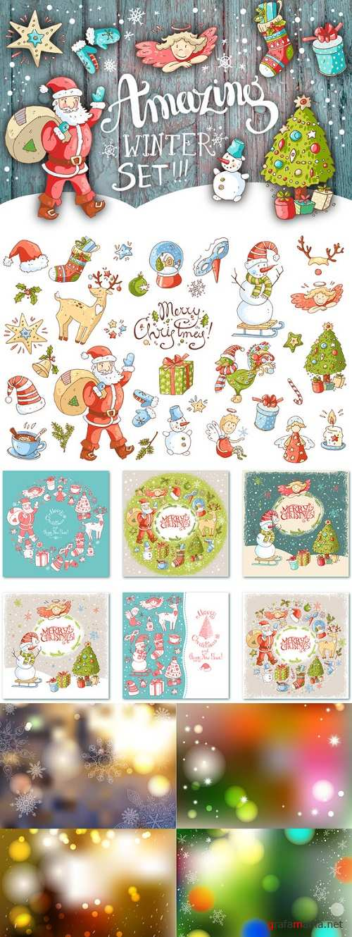 Cute doodle Xmas and New Year - 980281