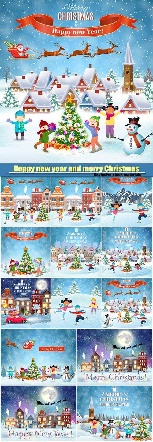 Happy new year and merry Christmas card design, winter fun kids decorating a Christmas tree, Santa Claus with deers in sky above the house