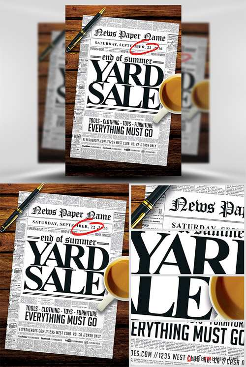 Flyer Template - Read all about it! Yard Sale
