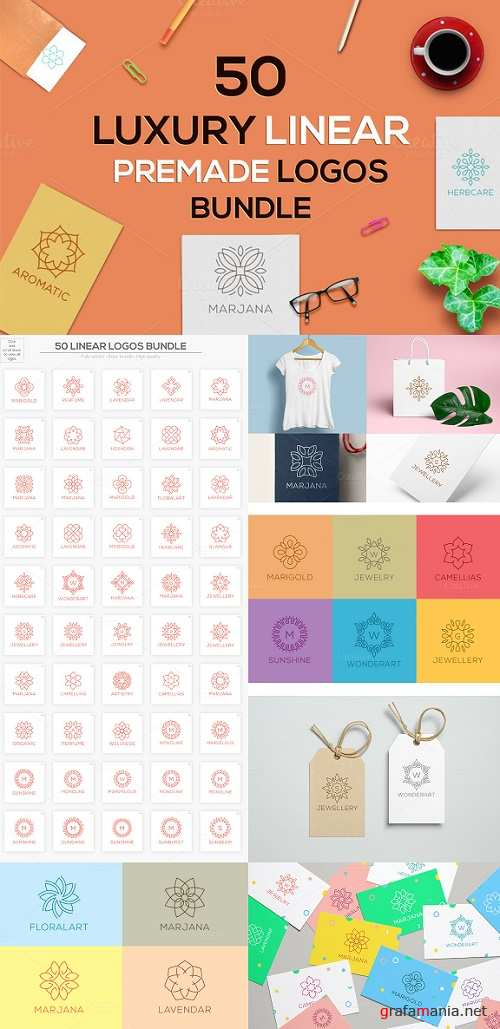 50 Luxury Linear Premade Logos Pack - 1018019