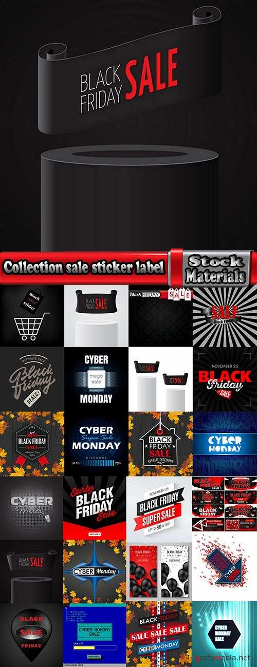 Collection sale sticker label sticker the cyber Black Friday trade in 25 EPS