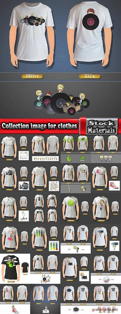 Collection image for clothes image for T-shirt template example stickers 25 EPS