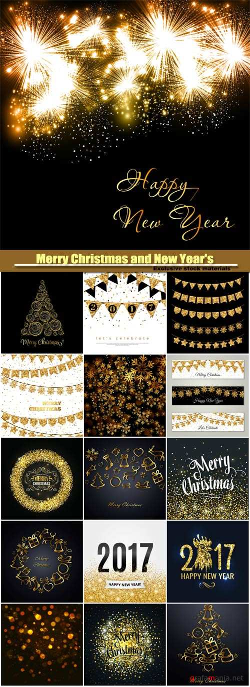Merry Christmas and New Year's vector background, gold glitter design, snowflake on a dark background