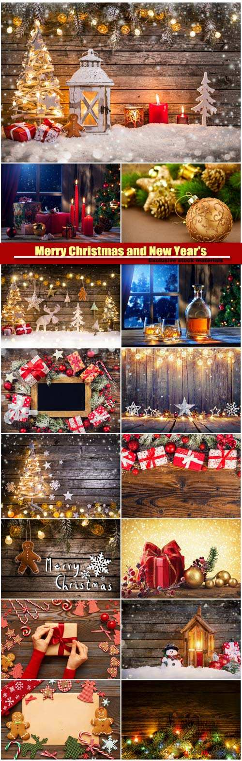 Merry Christmas and New Year's background, homemade decoration, gift box with christmas balls