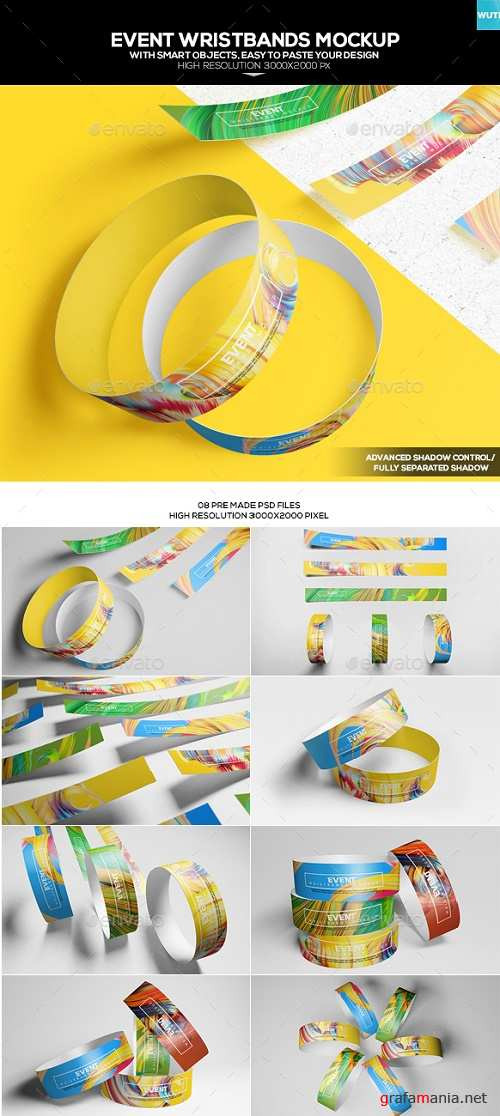 Event Wristbands Mockup - 18031745