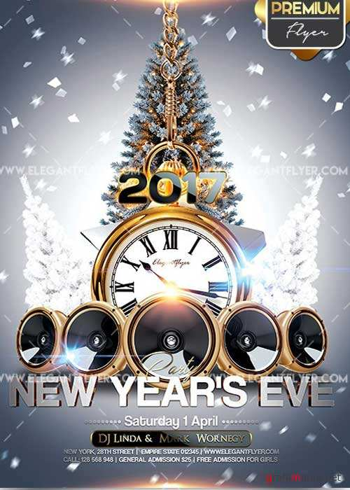 New Year's Eve Party Flyer PSD V11 Template + Facebook Cover