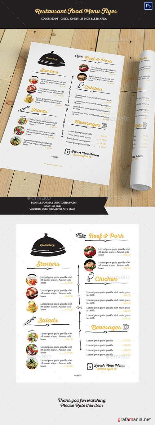 Restaurant Food Menu Flyer 15166067
